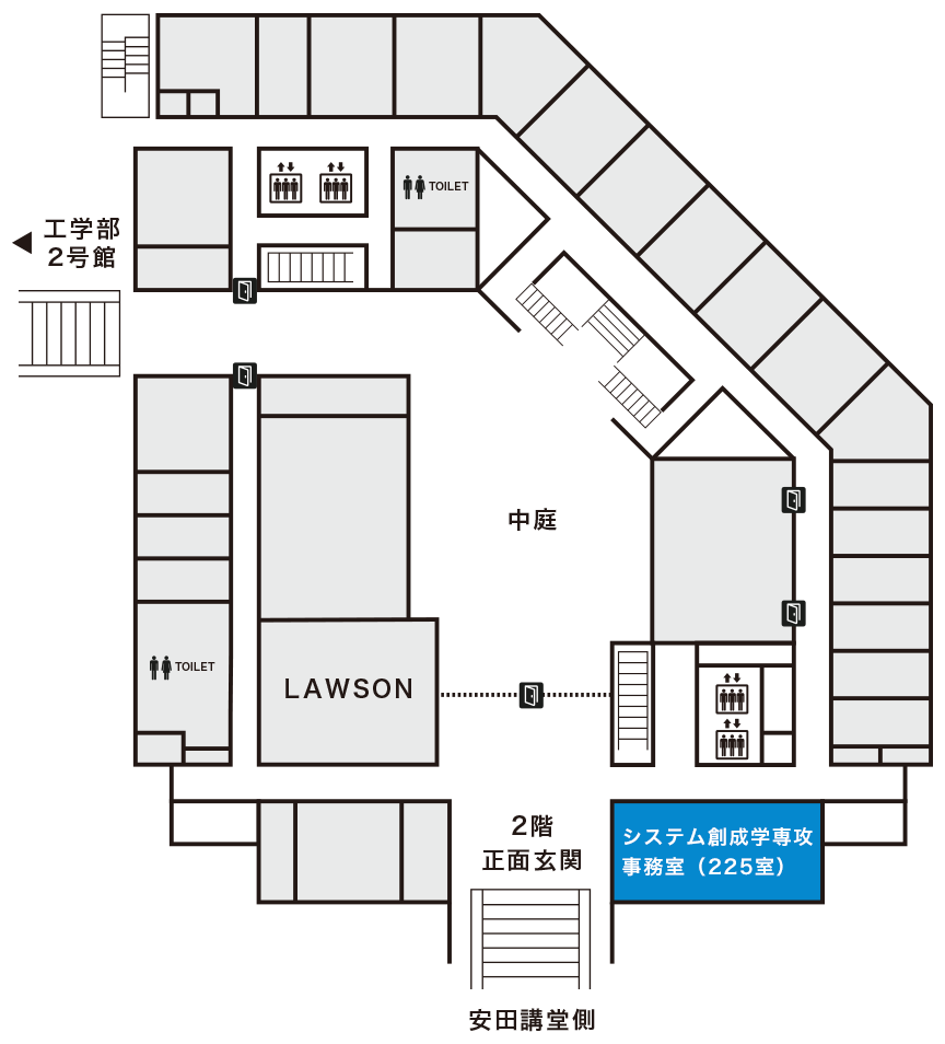 ⼯学部3号館2階フロアマップ