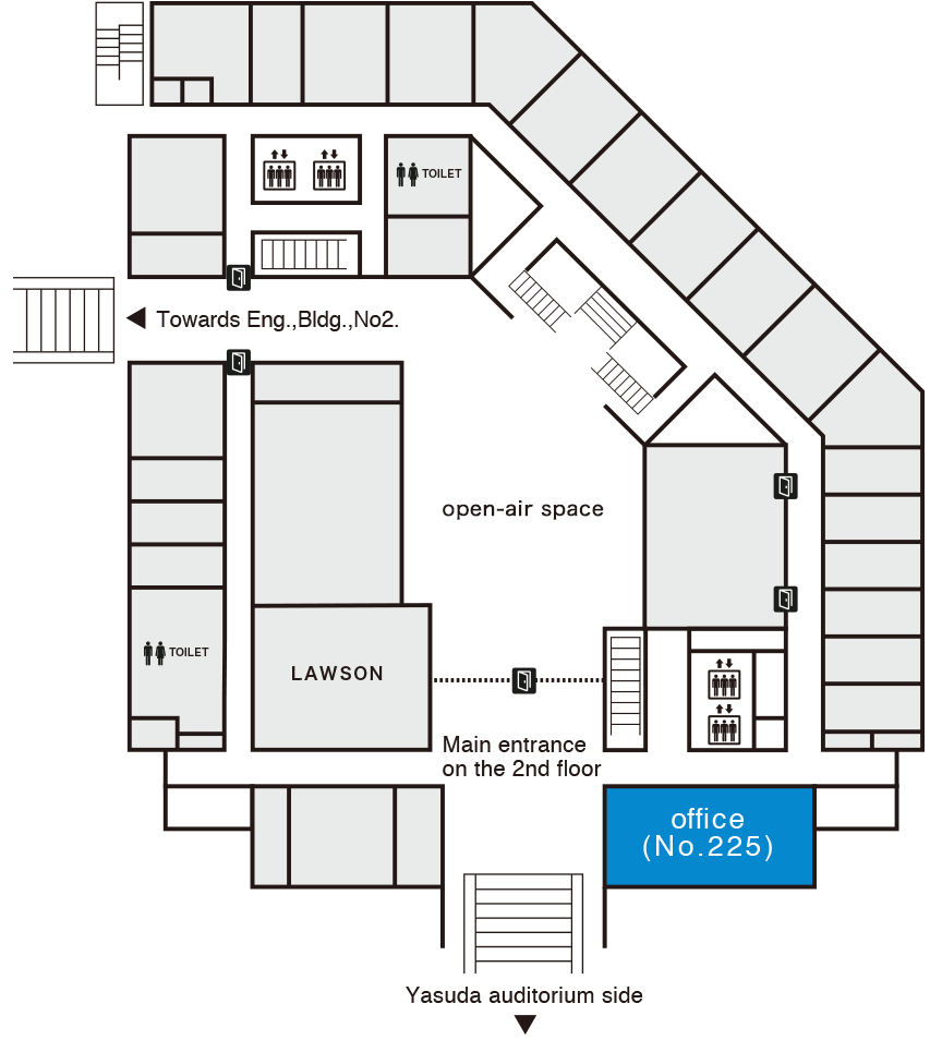 Department Office on floor map (2F, Eng., Bldg., No.3)